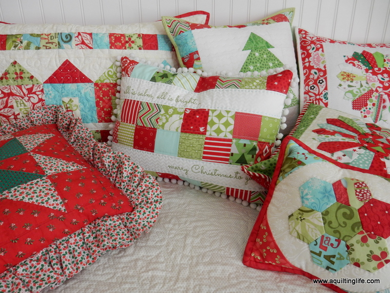 I love making Christmas pillows because they are usually quick to make and because they add instant charm to whatever setting you place them!